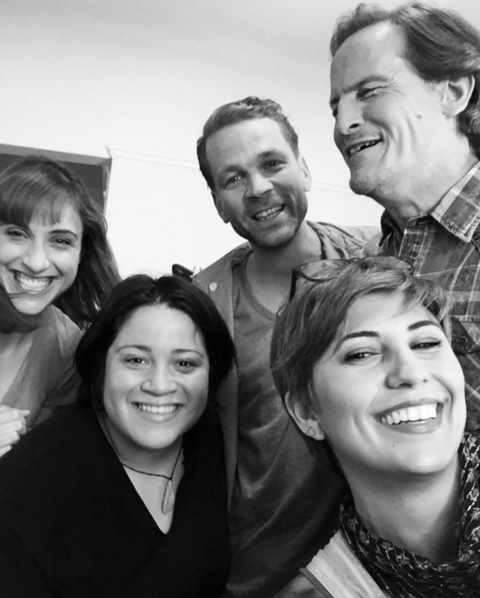 Jessie Lande, costumer Jessyca Bluwal, Brenden Sexton III, makeup artist Cici Andersen and Rick Boggs hanging in the dressing room. From Instagram @heymisscici