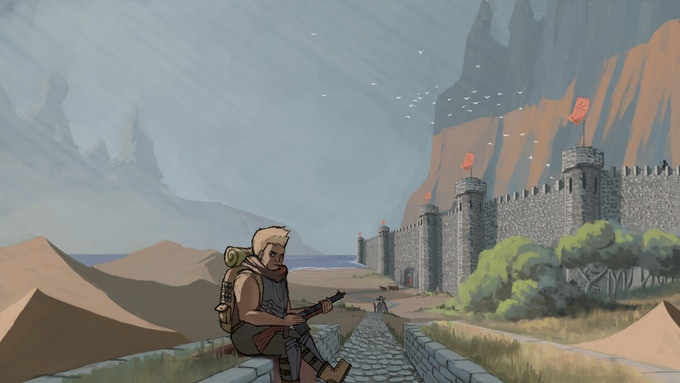 An adventurer waits outside of Saltsport, at the border of Qray Ralim
