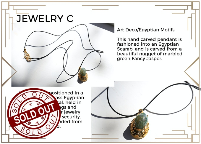 MINIMUM $222 DONATION for this Prize and other prize tiers below it! Ancient Egyptian style necklace with a carved Scarab pendant. Only 1 available!  SOLD OUT!!