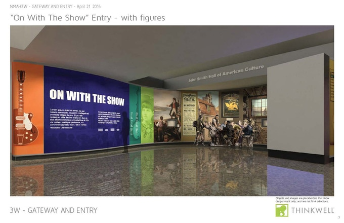 Rendering of the On With the Show entrance