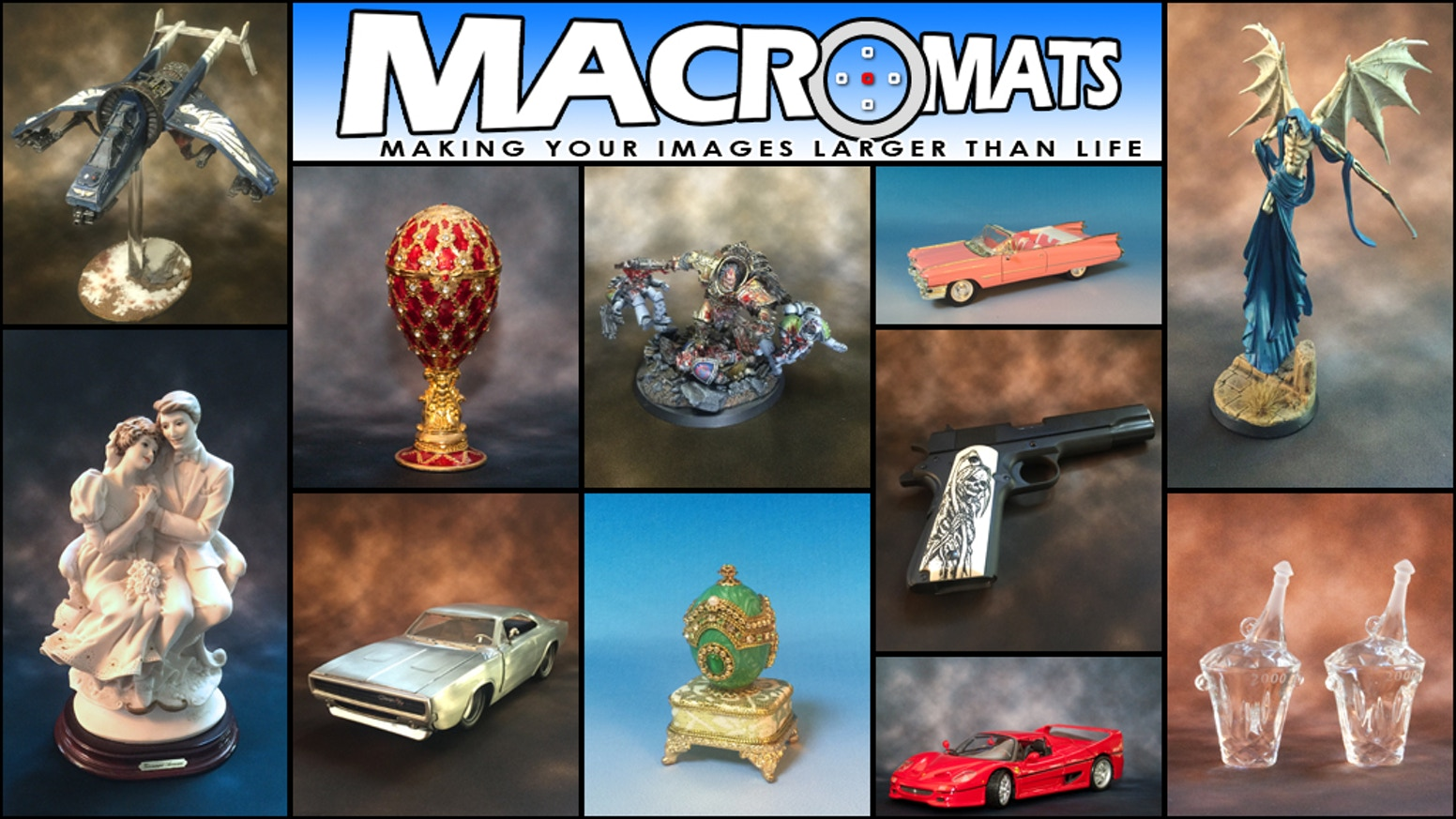 Professional Grade, small-scale Photo Backdrops; perfect for use in photographing collectibles, hobby miniatures and small works of art