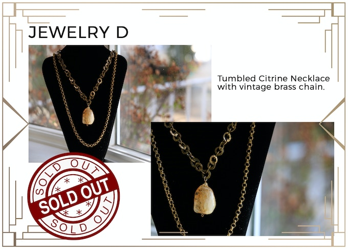MINIMUM $333 DONATION for this Prize and other prize tiers below it! Beautiful Citrine Necklace with Vintage Brass! What gives Citrine its beautiful yellow-orangish color is the trace of iron in its structure! Only 1 available! SOLD OUT!!