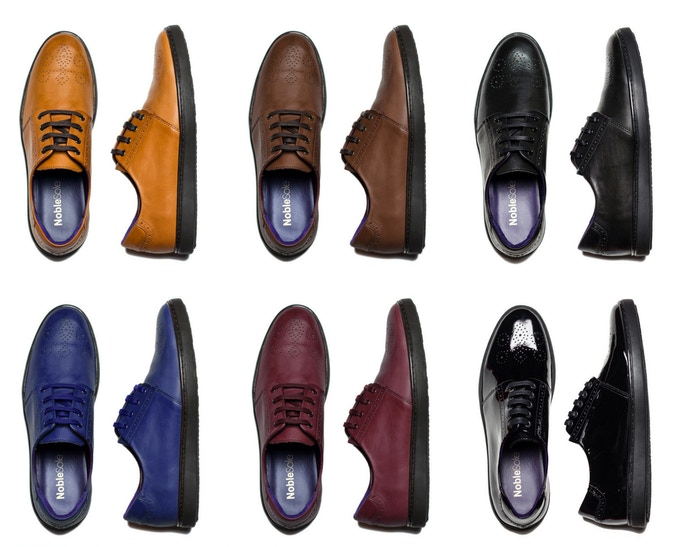 From top left: Cognac, Chocolate Brown, Black, Royal Blue, Oxblood, Black Patent