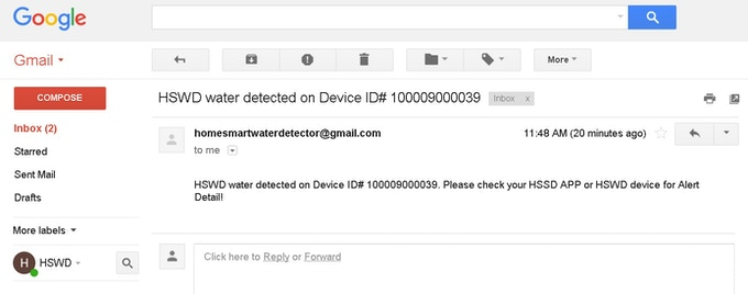 Sending Water Leaking Alert to Email
