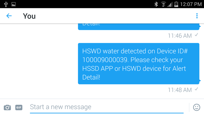 Sending Water Leaking Alert to Twitter