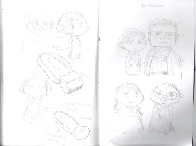 Original sketches of 'Shirin-style' Nairi - and her parents!