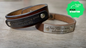 Handmade leather bracelet and individual engraving
