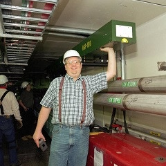 Campaign proponent Gerry Jackson overseeing the construction of the antiproton storage Recycler ring