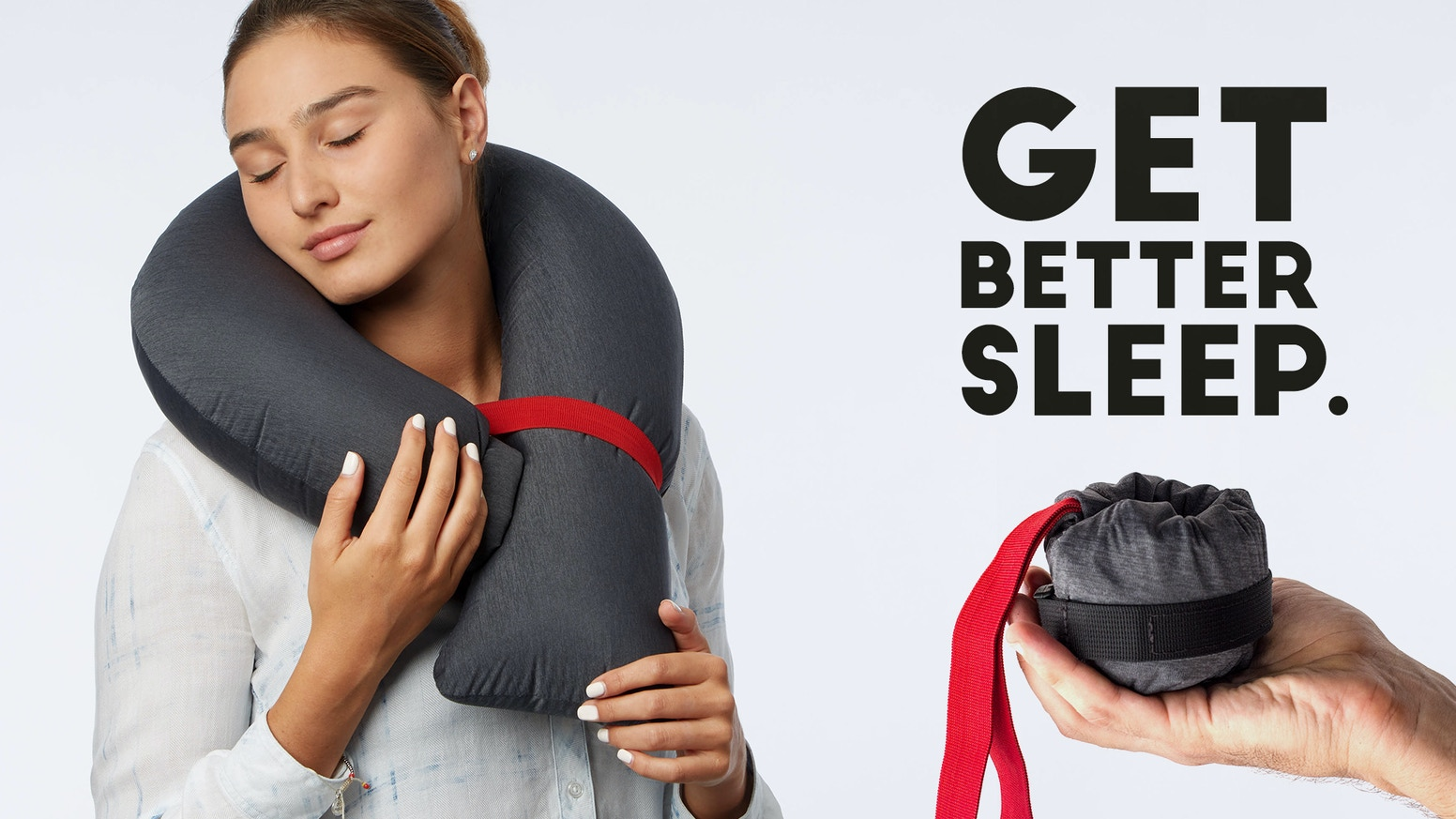 A travel size travel pillow. Instantly inflatable . Extremely  comfortable, 360 degree support with over 20 modes in one