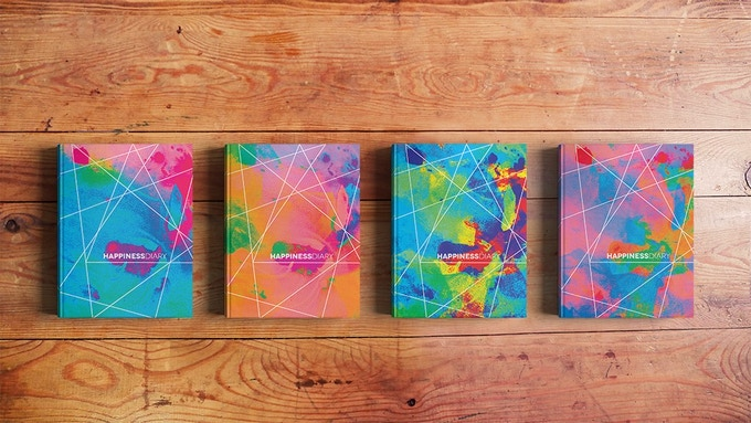 """Cover options of the Happiness Diary: """"Blue is my favorite color"""", """"Jolly orange"""", """"Colorful wonderful"""" & """"Pretty pink"""""""