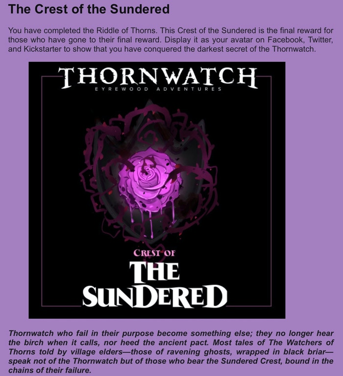 Thornwatch by Lone Shark Games » GIANT SPOILER WARNING: The