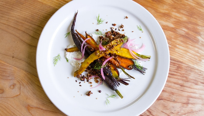 Roasted Heirloom Carrot Salad - dill & sumac labneh, toasted quinoa granola, pickled red onions