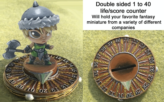 Score/Life Counter is NOT provided with Sara miniature.  Counter is shown painted only for display purposes.