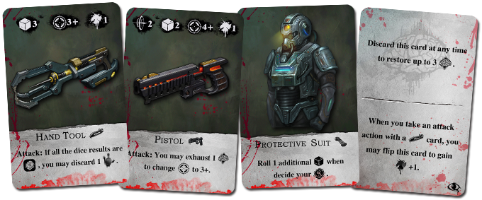 There are four kinds of search cards: melee weapon, ranged weapon, equipment, and ability.
