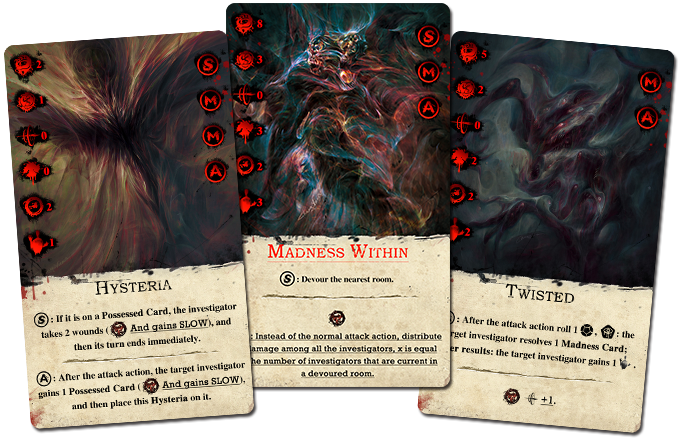 Monster Cards: Hysteria, Madness Within (epic monster), and Twisted.