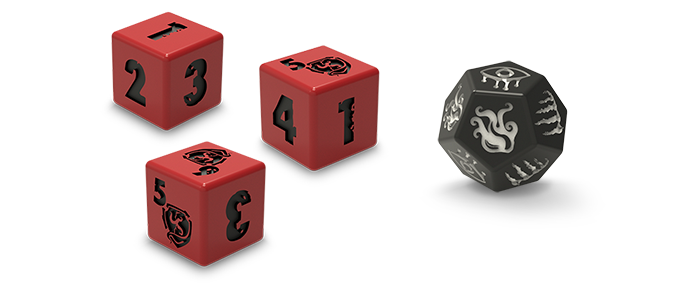The Core Game contains nine 6-sided investigator dice and one 12-sided monster die.