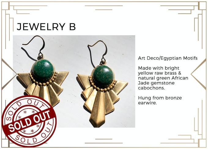 MINIMUM $222 DONATION for this Prize and other prize tiers below it! Enchanting earrings with an Art Deco flair. Only 1 available! SOLD OUT!!