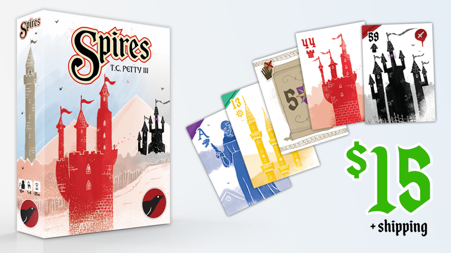 Answer the royal decree! Build Spires high - but not too high! - in this card game for 1-4 players by TC Petty III. Playable in ~25 min