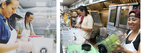 Becca, Chris and Danielle working away in the kitchen! All seitan and smiles.