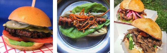 Veggie burger slider, carrot dog, jerk seitan and bbq mushroom sandwiches