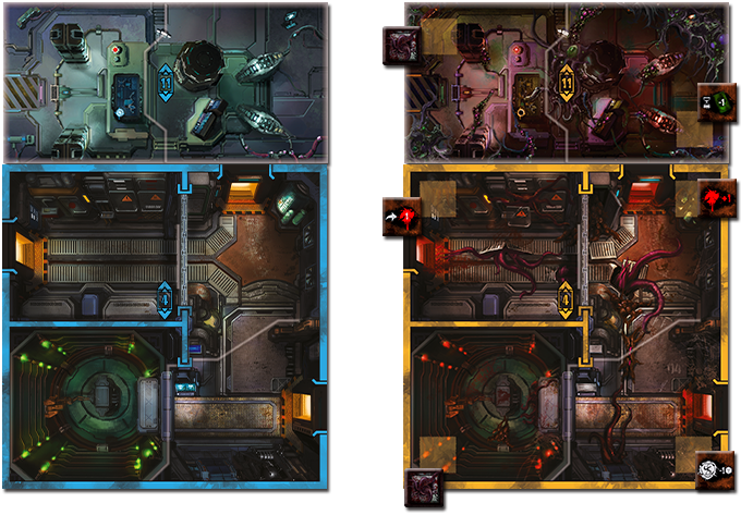 Devoured Room Tiles with Spawn Marker and Devoured Effect Tokens placed on them.