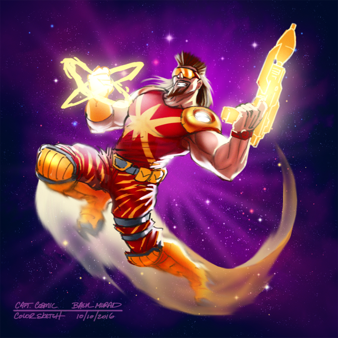 Concept art for the Capt Cosmic Promo Character