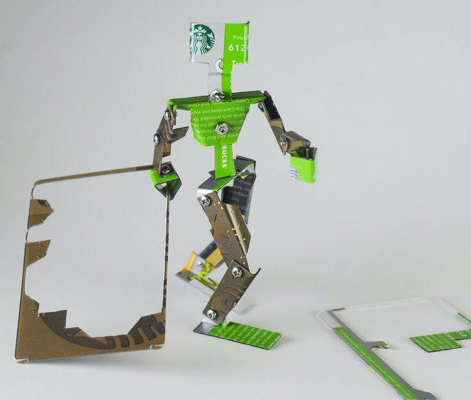Figure is made from two gift cards