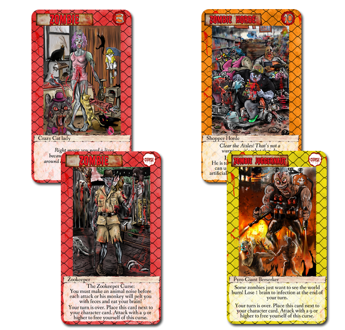 There are 3 types of cards: Zombies, Hordes and Juggernauts.