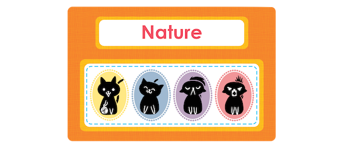One of twelve attribute cards: Nature. This can prompt children to sort the cats into playful, cuddly, snooty and tough.