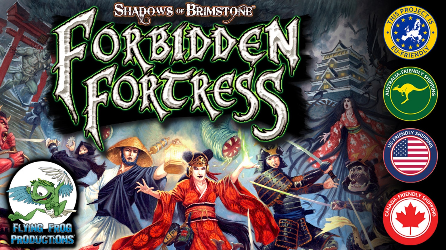 Forbidden Fortress is a fast-paced, Cooperative, dungeon-crawl boardgame set in Feudal Japan, and mixed with Unspeakable Horror!