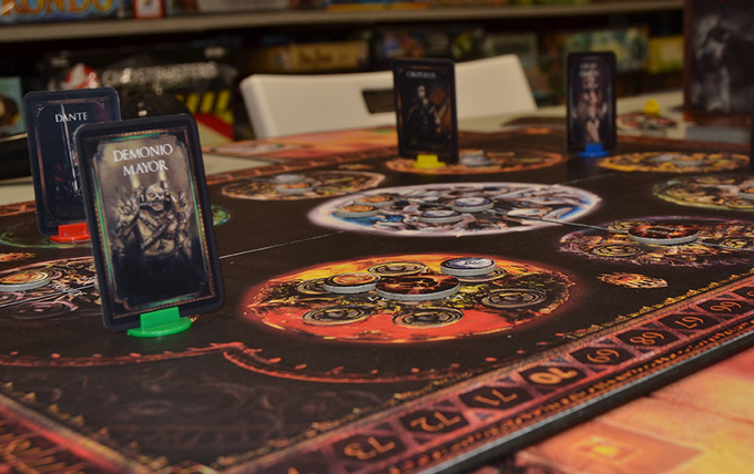 Detail of the boardgame and some cards in place