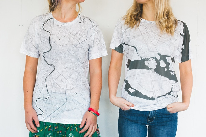 Rome and Stockholm map T-shirts