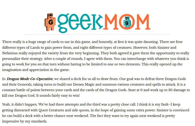 Great Review from Geek Mom