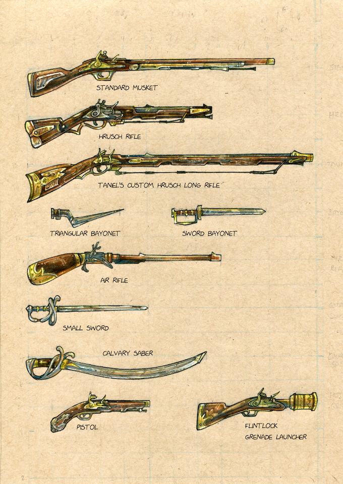 Weapon illustrations for the book