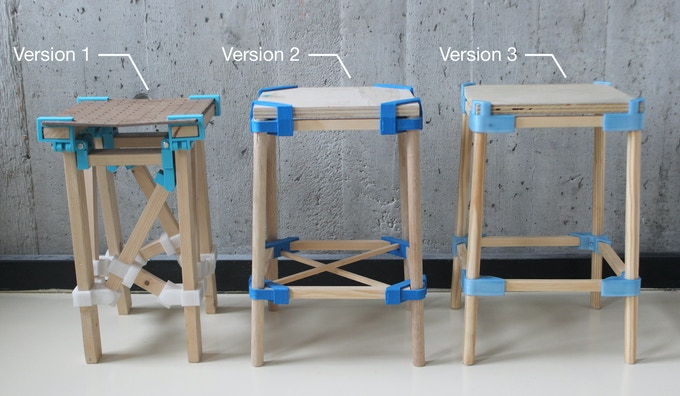 The Evolution of Stool One: strength and rigidity of new materials for 3D-printing allowed for fewer and more refined components.