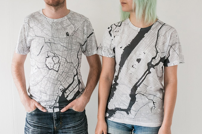 Tokyo and New York City map T-shirts.
