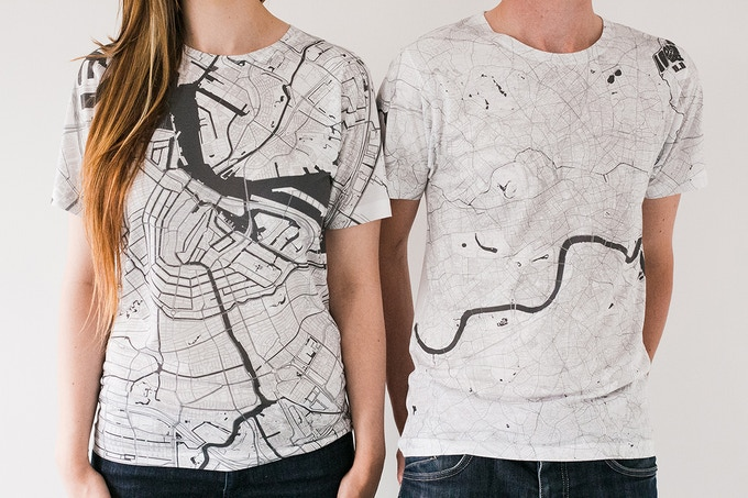 Amsterdam and London map T-shirts.