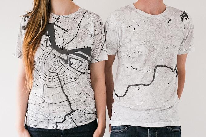 Amsterdam and London map T-shirts.