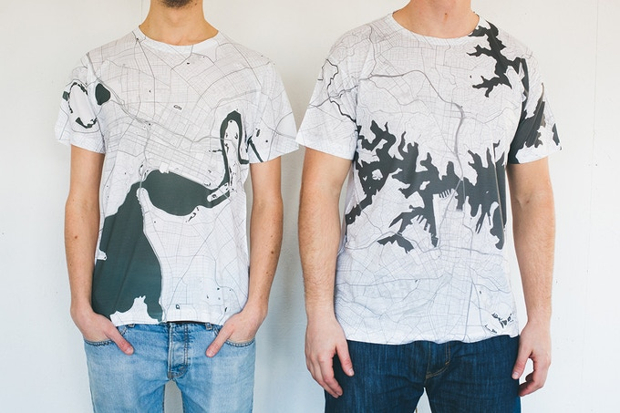 Perth and Sydney map T-shirts