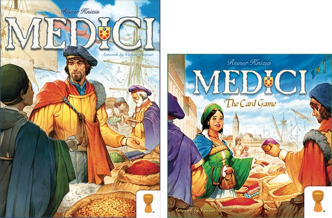 Both Medici games side by side, showing the same scene from different angles! (not to scale.)