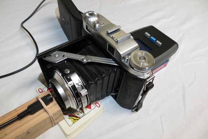 Here's a 1950's Bessa folding camera being tested