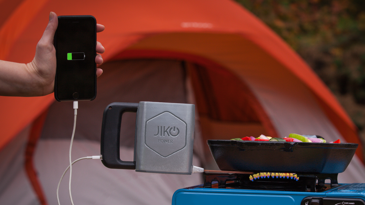 Jiko Spark uses heat to charge cell phones & USB devices. For Emergencies, Disaster Prep, Camping or Donate Sparks to your charity.