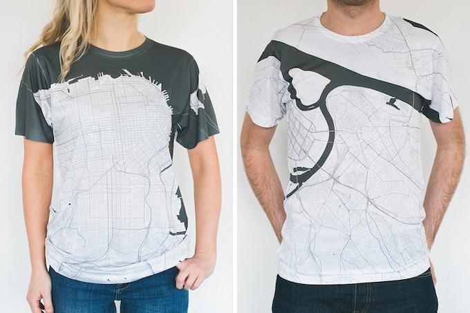 San Francisco and Belgrade map T-shirts.
