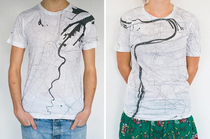 Belfast and Prague map T-shirts.