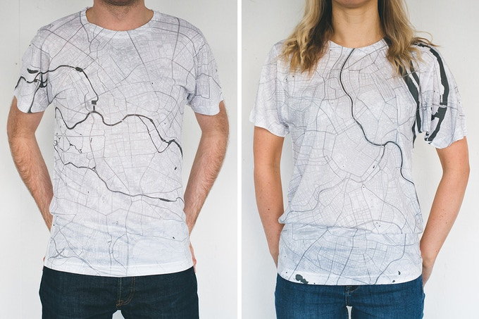 Berlin and Vienna map T-shirts.