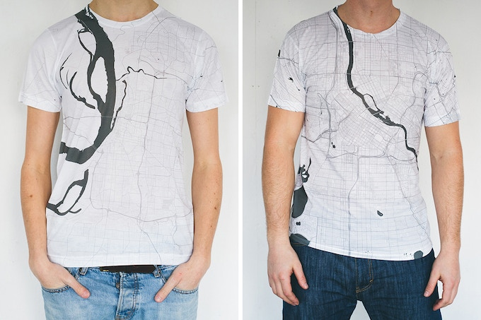 Memphis and Minneapolis map T-shirts.