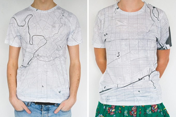 Manchester and Chicago map T-shirts.