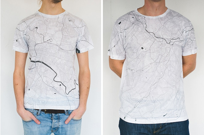 Glasgow and Sheffield map T-shirts.