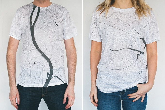 Budapest and Dublin map T-shirts.
