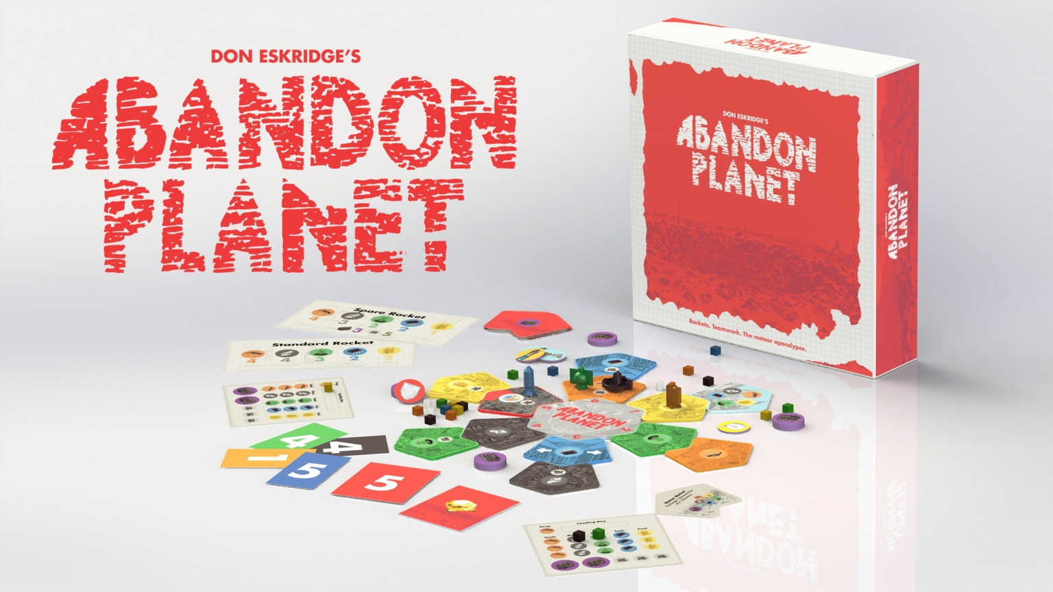 A board game for 4-8 players about building rockets and escaping the meteor apocalypse.